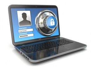 Internet Security.  Laptop and safe lock.