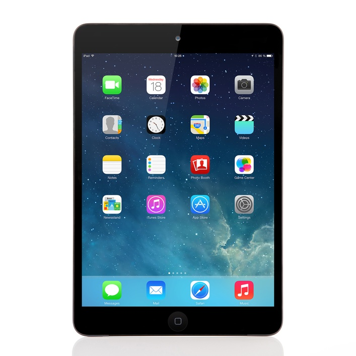 New operating system IOS 7 screen on iPad mini Apple